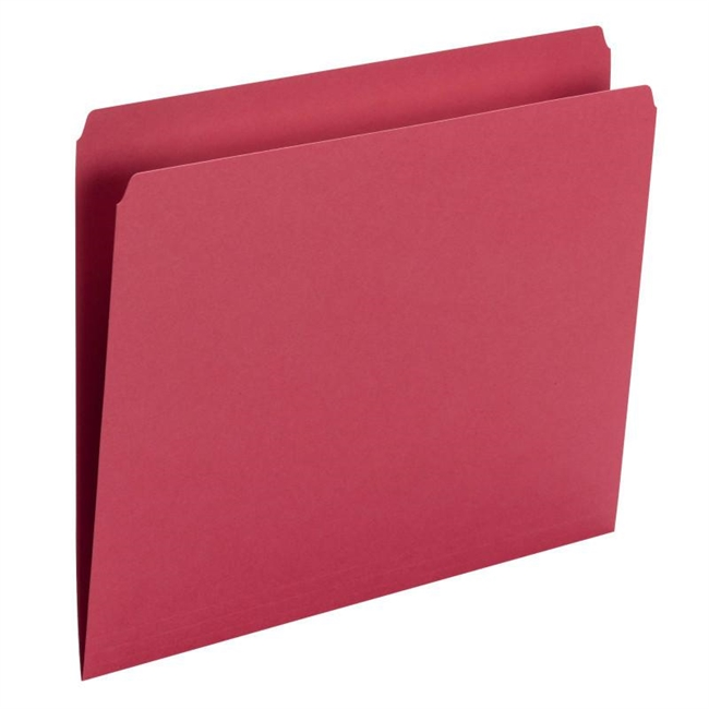 Smead File Folder, Straight Cut, Letter Size, Red, 100/Bx