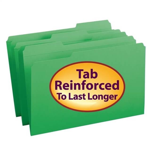 Smead File Folder, Reinforced 1/3-Cut Tab, Legal, Green