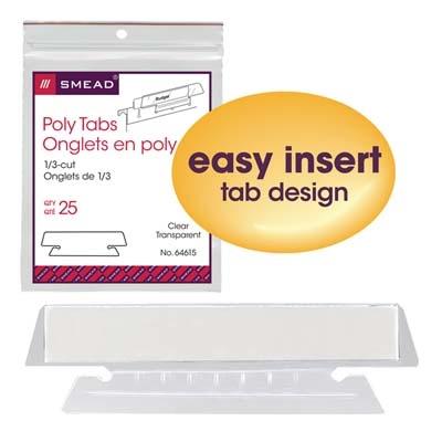 Clear 4 Packs 64615 Smead Poly Tab 1//3 Cut 25 Per Pack